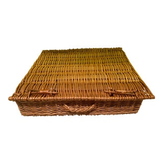 Vintage Boho Chic Wicker Suitcase For Sale