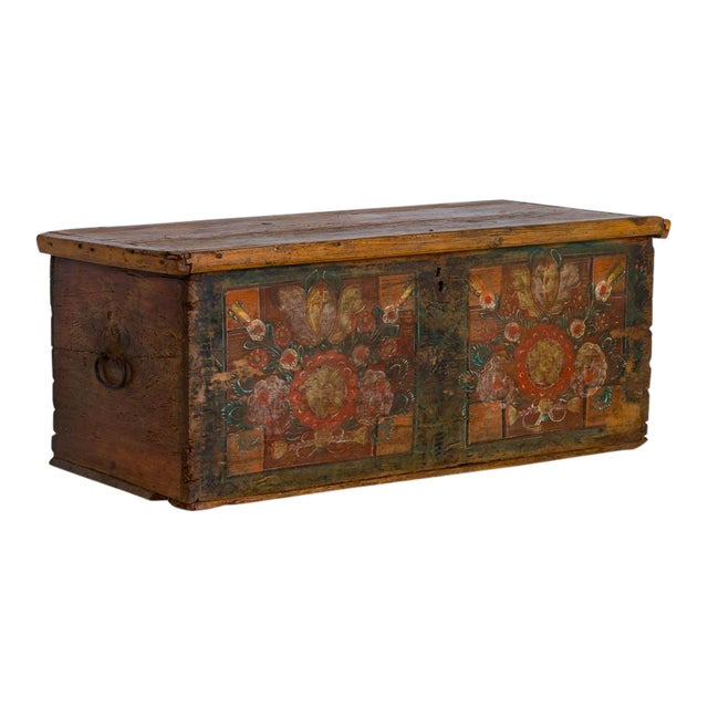 19th Century Antique Painted Trunk For Sale
