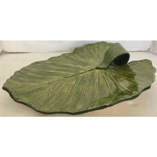 Studio Pottery Leaf Pattern Platter Signed For Sale In Miami - Image 6 of 7