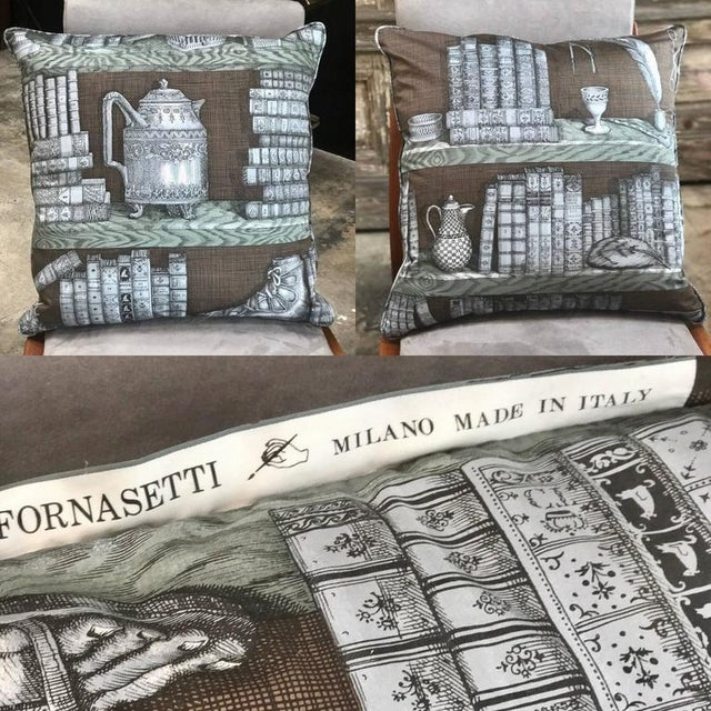 Textile Piero Fornasetti Pillows, 1950s For Sale - Image 7 of 9