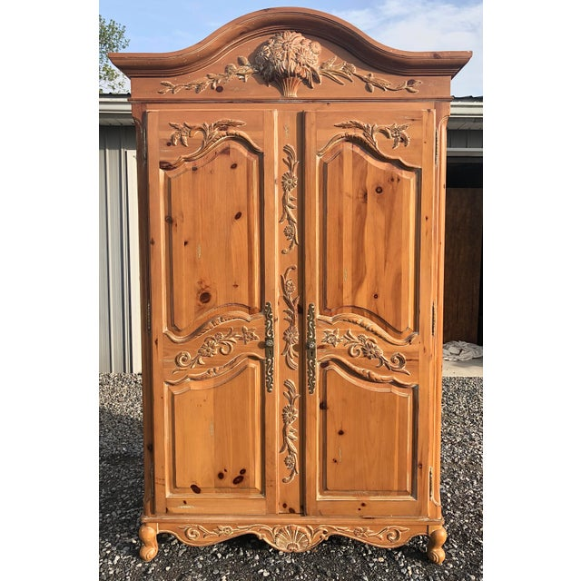 Ethan Allen Legacy Carved Country French Armoire For Sale - Image 11 of 11