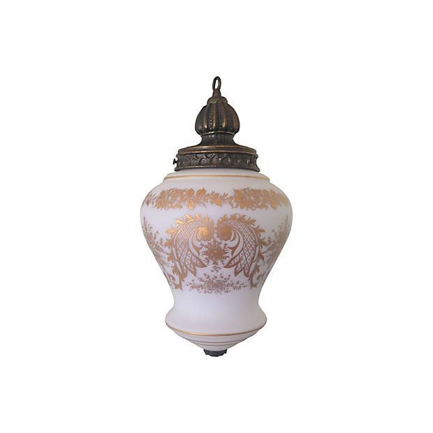 Hand-Painted French Glass Pendant Light - Image 3 of 5