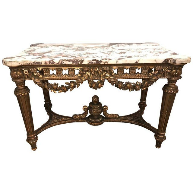 French Louis XVI Style 19th Century Giltwood Marble-Top Centre Table For Sale - Image 13 of 13