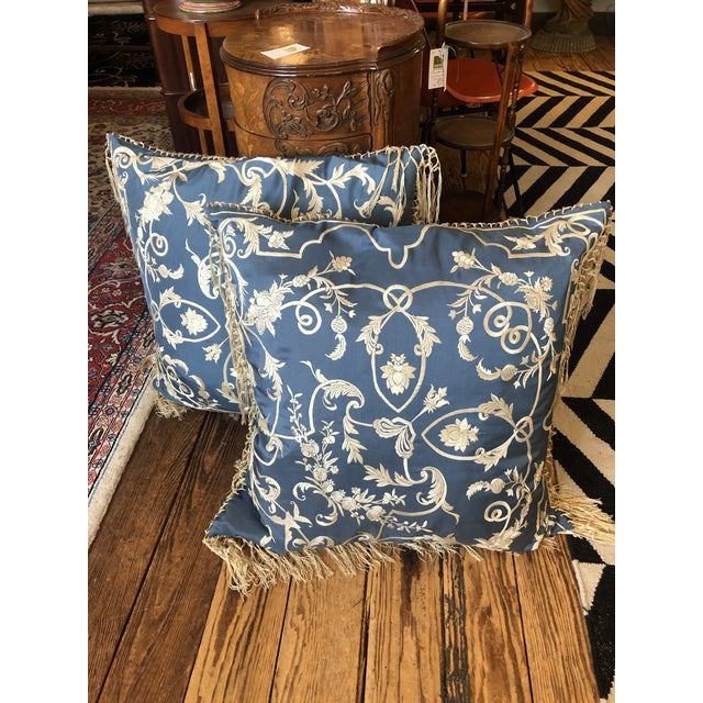 Blue Big Silk Periwinkle Blue and Cream Ralph Lauren Embroidered Pillows -A Pair For Sale - Image 8 of 8