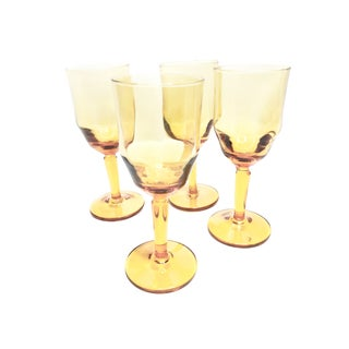Vintage 1920's Amber Optic Wine Glasses - Set of 4 For Sale