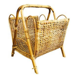 Large Vintage Wicker Magazine Rack For Sale