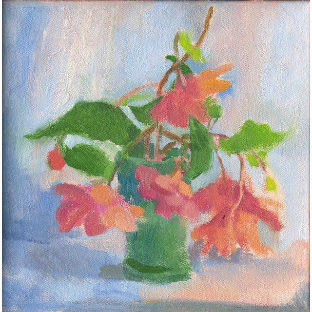 """Amy Griffith Colley """"Begonias in Blue Green Vase"""" Still Life Painting For Sale"""