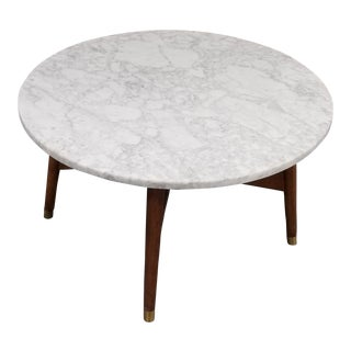 Mid-Century Modern West Elm Marble Cocktail Table For Sale