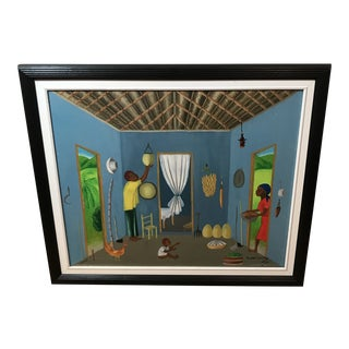 Lucien Pradel Oil Painting of Haitian Family in House, Framed For Sale