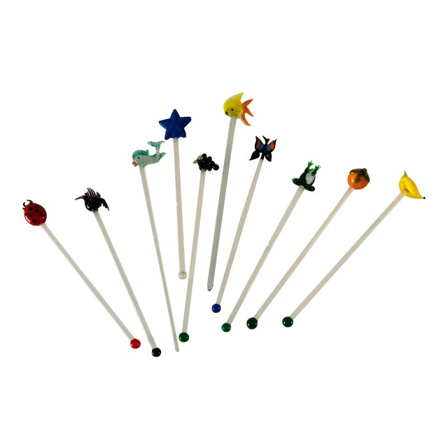 Vintage Art Glass Tropical Animals Fish Assorted Swizzle Sticks - Set of 10 For Sale