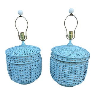 Vintage Coastal Wicker Turquoise Table Lamps - a Pair For Sale
