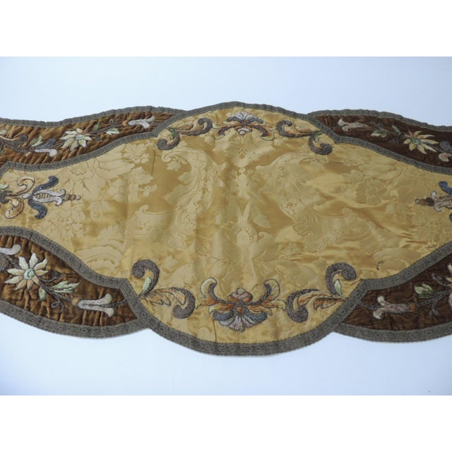 19th century gold and brown silk and velvet Byzantine Damask large-scale table runner depicting embroidered flowers with...