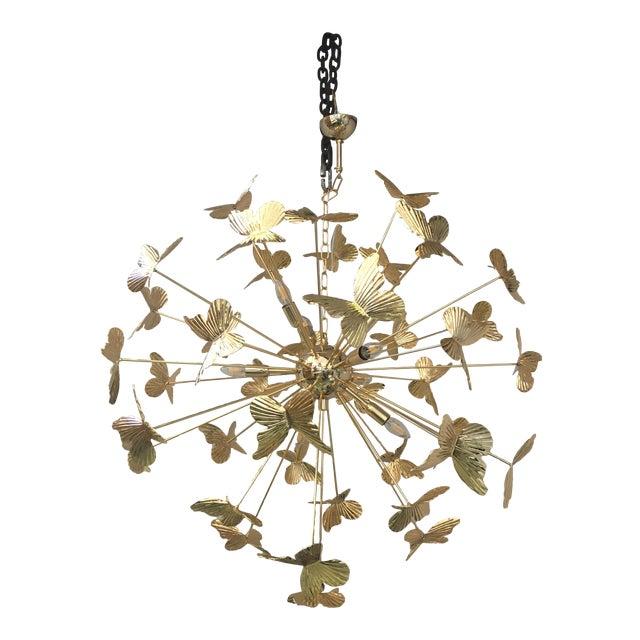 Italian Hand Made Gold 24k Butterfly Sputnik Chandelier For Sale