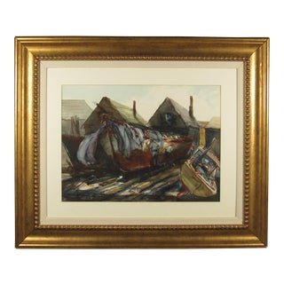 """Original """"Boat Builders"""" Watercolor Painting by Alan Halliday For Sale"""