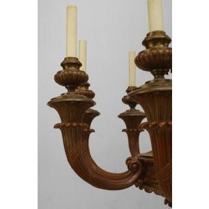 American Victorian (19th/20th Cent) painted bronze 8 light chandelier with scrolling fluted arms