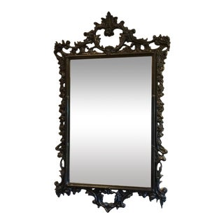 Black Lacquer Gothic French Mirror