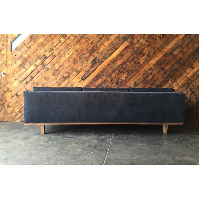 Blue Mid Century Style Custom Walnut Trim Sofa For Sale - Image 8 of 8