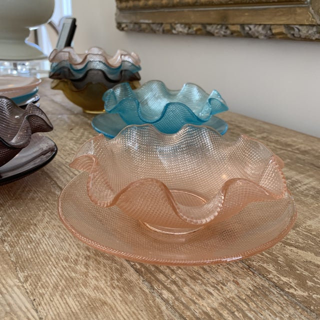 Multicolored Ruffled Vintage Glass Dessert Bowls and Saucers. awesome colors and great Vintage style. Textured glass in...