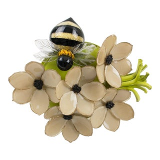 Cilea Paris Signed Resin Pin Brooch Nude Color Nasturtium Flowers With Honey-Bee For Sale
