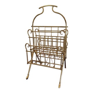Vintage Hollywood Regency Solid Brass Magazine Rack For Sale