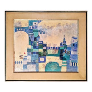 Heshi Yu Abstract Village Naive Chinese Modernist Oil Painting