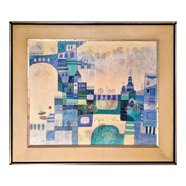 Heshi Yu Abstract Village Naive Chinese Modernist Oil Painting - Image 1 of 9