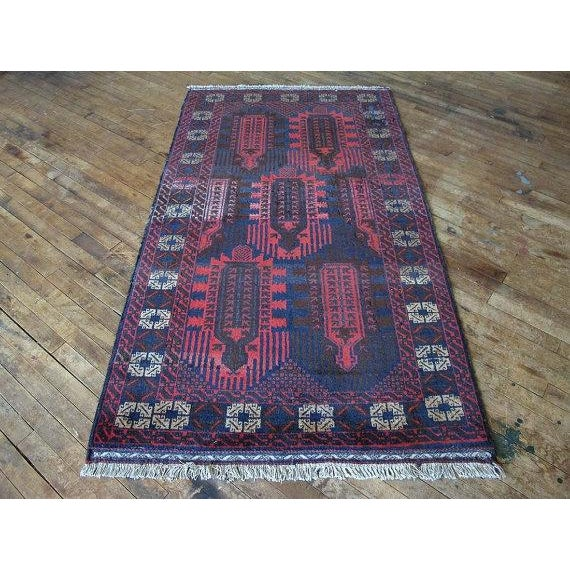Vintage Navy & Red Persian Rug - 3′7″ × 6′5″ - Image 2 of 6