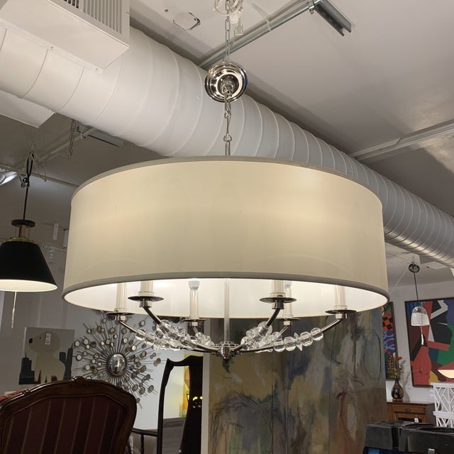Modern Crystorama 'Mirage' Drum Six-Light Pendant Chandelier For Sale - Image 3 of 13