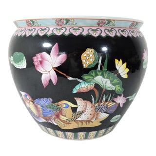 Vintage Mandarin Duck & Pink Lotus Flower Chinese Black Porcelain Planter / Goldfish Bowl For Sale
