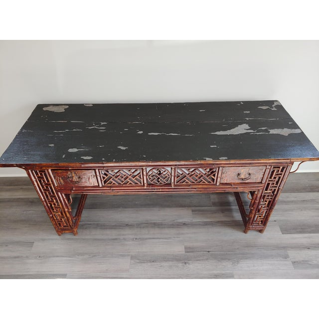 Antique Chinese Chippendale Frettwork Altar Console Table For Sale - Image 9 of 13