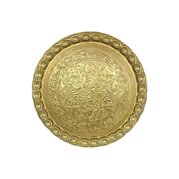 Mid-Century Moroccan Brass Tray For Sale