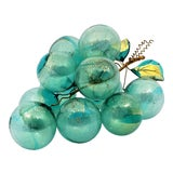Image of Carribbean Blue and Gold Murano Glass Table Sculpture of Over-Scaled Grapes - Mid Century Modern Palm Beach Boho Chic For Sale