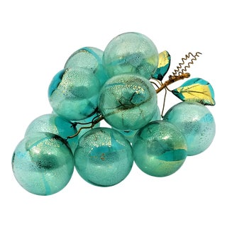Carribbean Blue and Gold Murano Glass Table Sculpture of Over-Scaled Grapes - Mid Century Modern Palm Beach Boho Chic For Sale