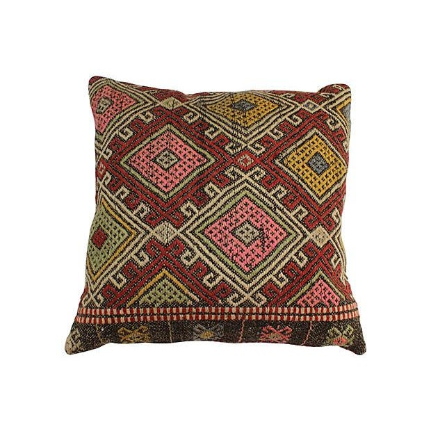 Vintage Turkish Kilim Floor Pillows - A Pair - Image 2 of 6