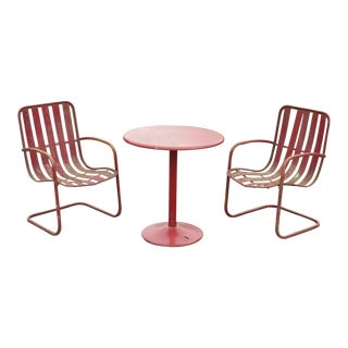 Vintage Steel Metal Strap Patio Bistro Dining Set-Set of 3 For Sale