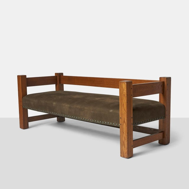 Green Stickley Brothers Leather Upholstered Oak Sofa For Sale - Image 8 of 8