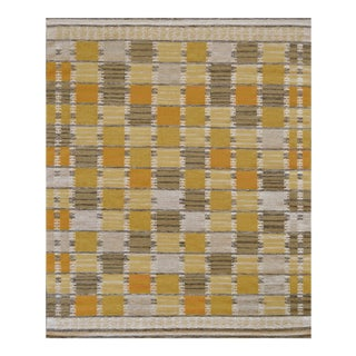 Mansour Modern Handwoven Swedish Inspired Flat-Weave Wool Rug For Sale