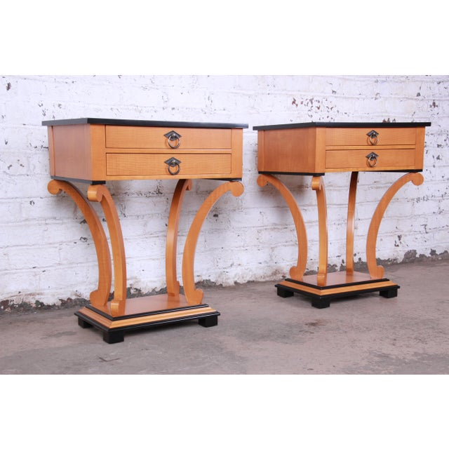 Baker Furniture Biedermeier Style Fully Restored Night Stands - a Pair For Sale - Image 13 of 13