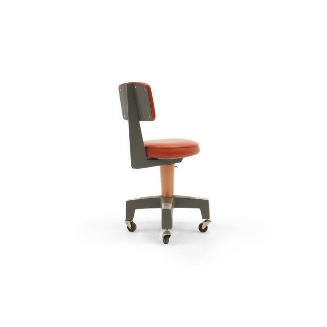 Industrial Design Swivel Chair on Casters by American Optical Corp Red Orange For Sale In Kansas City - Image 6 of 11