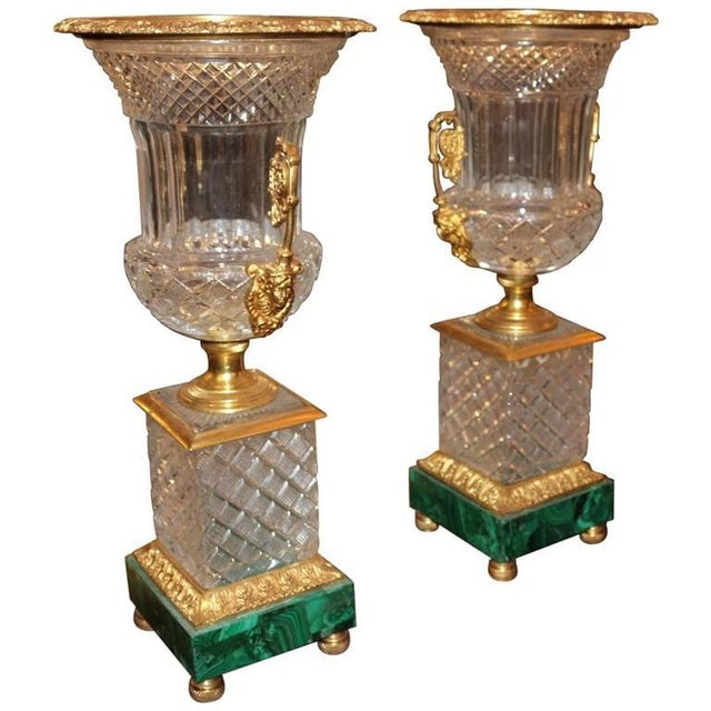 Neoclassical Style Cut Glass Bronze & MalachiteUrns - A Pair - Image 2 of 7