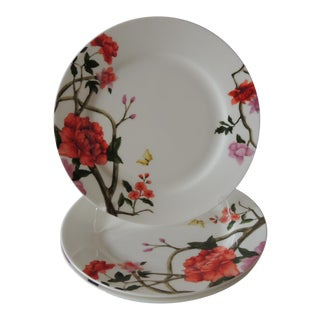 Set of (3) Floral Bone China Dinner Plates For Sale