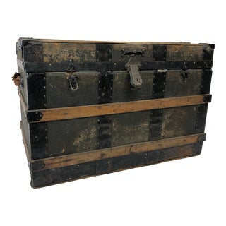 Vintage Industrial Wood Steamer Trunk With Tray For Sale