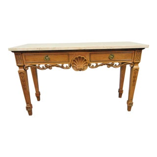 Century Furniture Cherry Shell Carved Marble Top Console Table For Sale