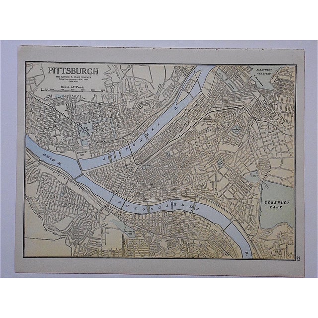 City Map Antique Lithograph - Pittsburgh - Image 2 of 3