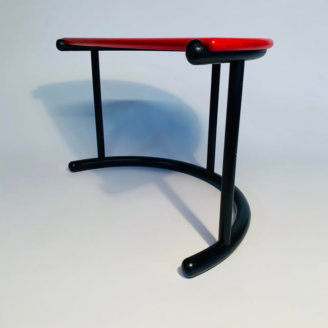 Red Gianfranco Frattini Demilune Side Table For Sale - Image 8 of 13
