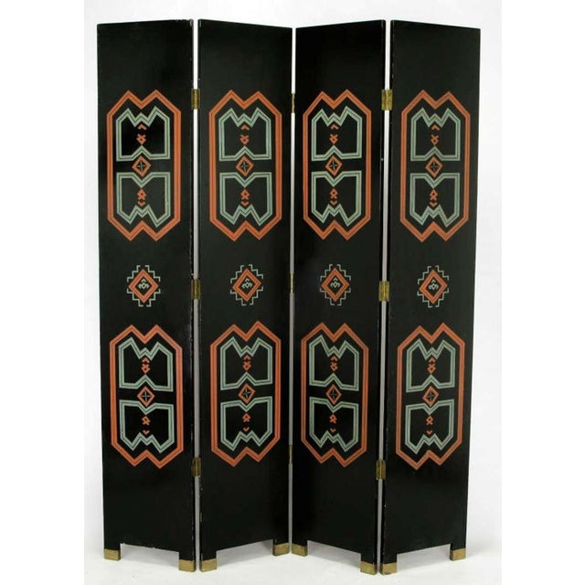 Art Deco Colorful Carved & Parcel Gilt Art Deco Style Four-Panel Screen For Sale - Image 3 of 7