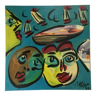 Abstract Painting by Peter Keil on Canvas For Sale