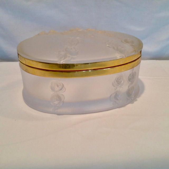 Oval Lalique Hinged Box With Gilt Metal Mounts For Sale - Image 13 of 13