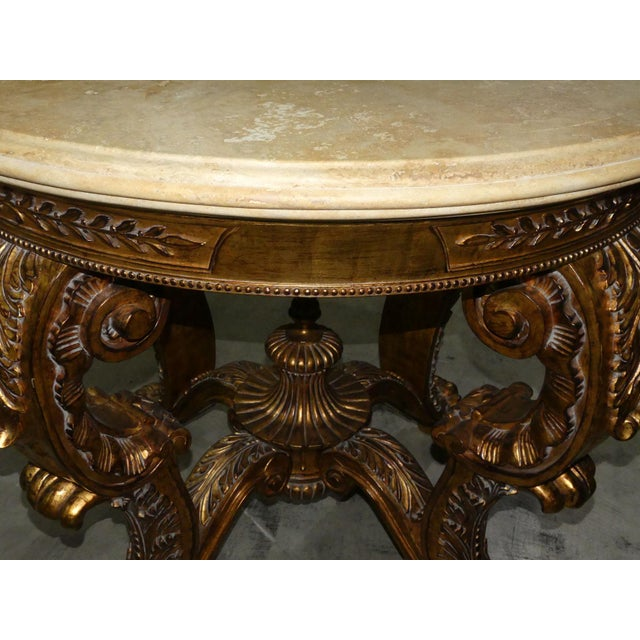 Ornately Carved Gilt Wood Rococo Center Table Base For Sale In West Palm - Image 6 of 11