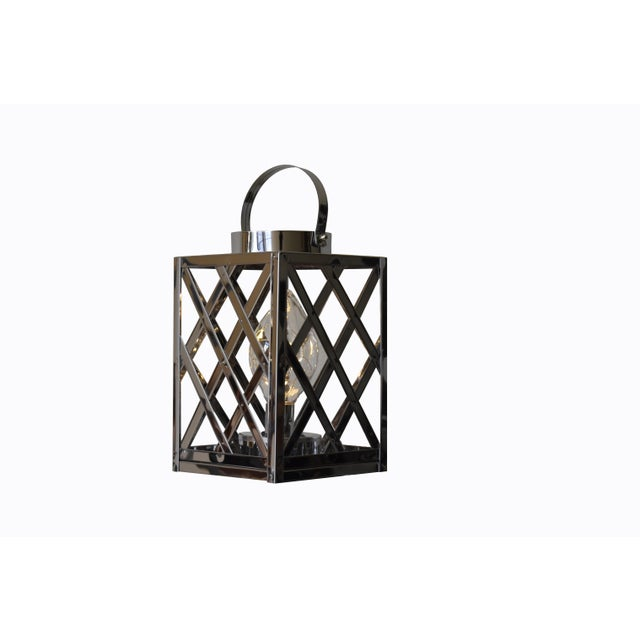 Contemporary Lantern Led Silver Cube For Sale - Image 3 of 6